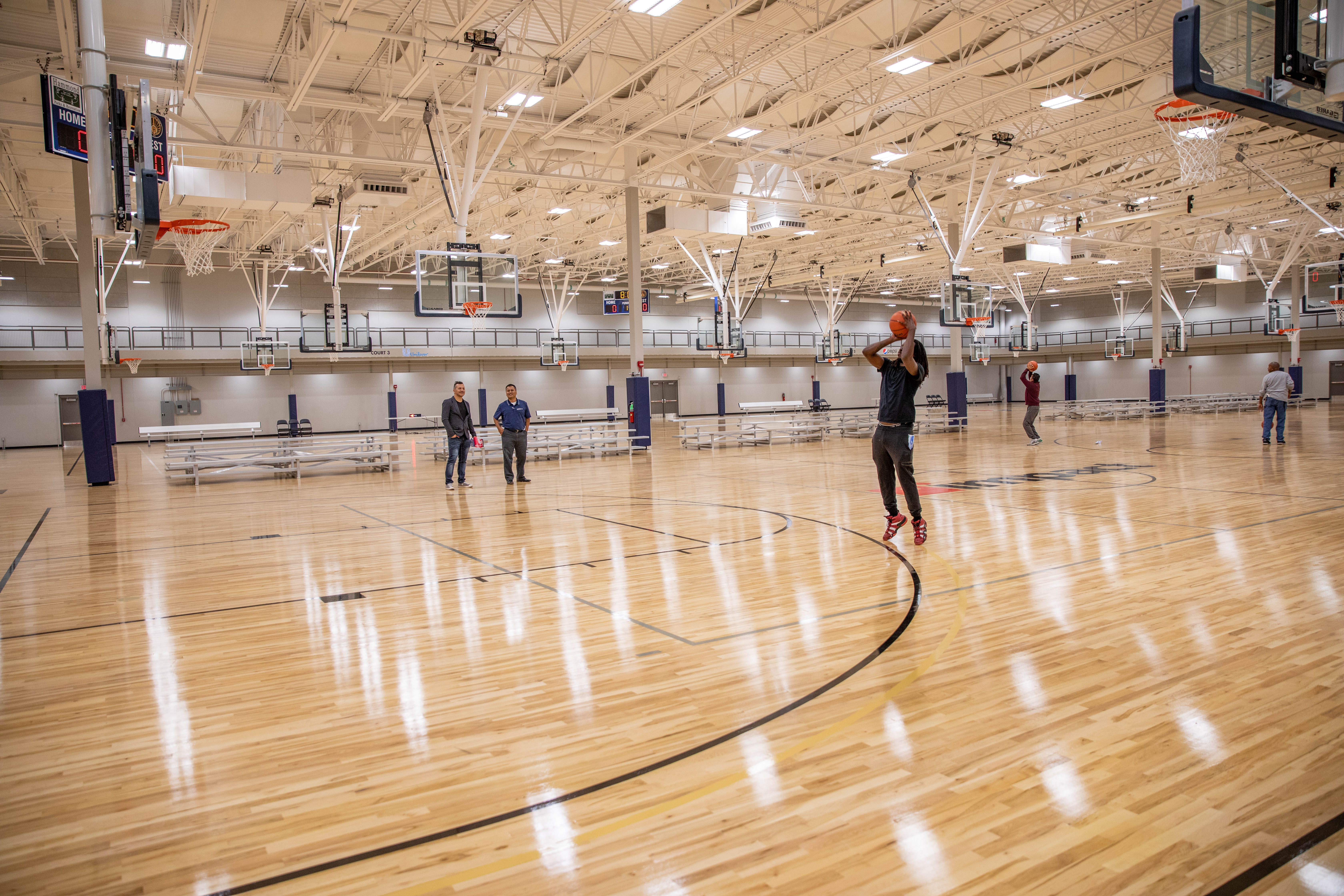 6 Basketball Courts With Practice Cross Court Rims 10